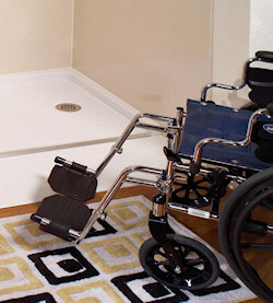 barrier free entry shower with wheelchair