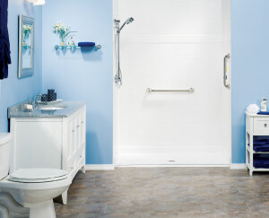 blue bathroom: tub to shower remodel thumbnail
