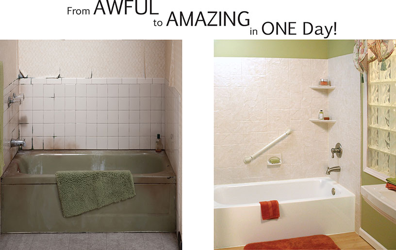 before and after photos of tub remodel