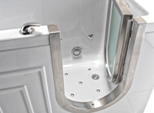 walk in tub with stainless door trim
